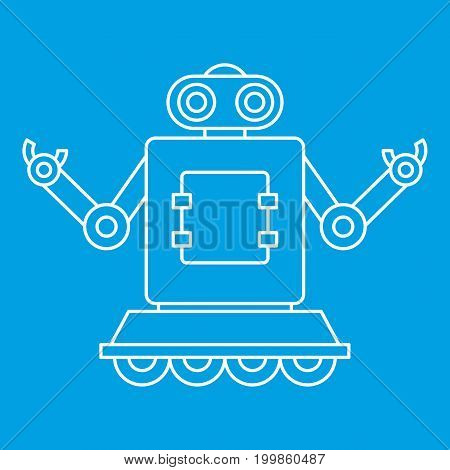 Machine robot on wheels icon blue outline style isolated vector illustration. Thin line sign