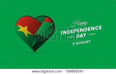 Banner or poster of Burkina Faso independence day celebration. Waving flag. Vector illustration.