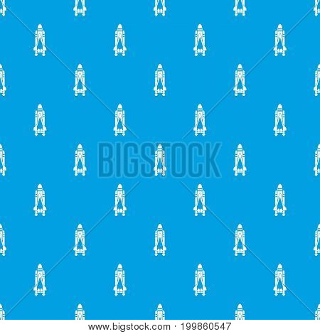Space shuttle pattern repeat seamless in blue color for any design. Vector geometric illustration