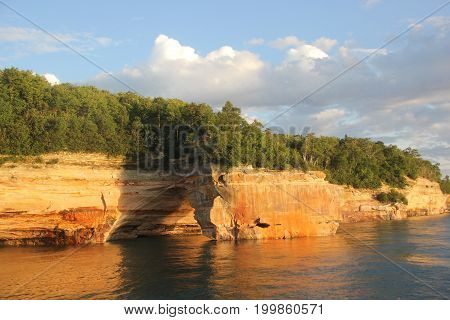 Lovers Leap rock arch in Pictured Rocks National Lakeshore, Upper Peninsula of Michigan