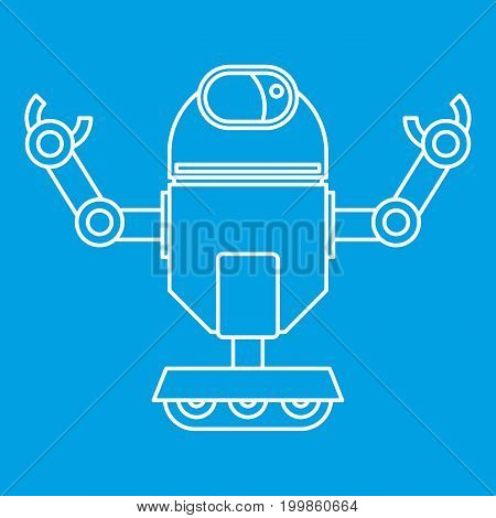 Automatic mechanism icon blue outline style isolated vector illustration. Thin line sign