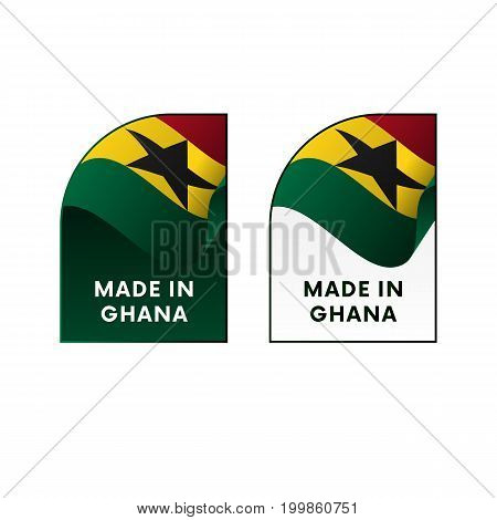 Stickers Made in Ghana. Waving flag. Vector illustration.