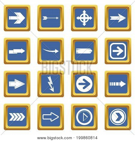 Arrow icons set in blue color isolated vector illustration for web and any design