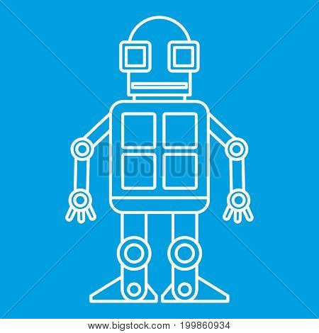 Android robot icon blue outline style isolated vector illustration. Thin line sign