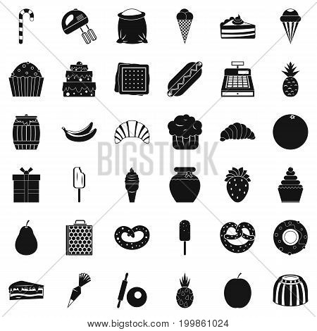 Sweet candy icons set. Simple style of 36 sweet candy vector icons for web isolated on white background