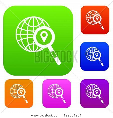 Globe, map pointer and magnifying glass set icon in different colors isolated vector illustration. Premium collection