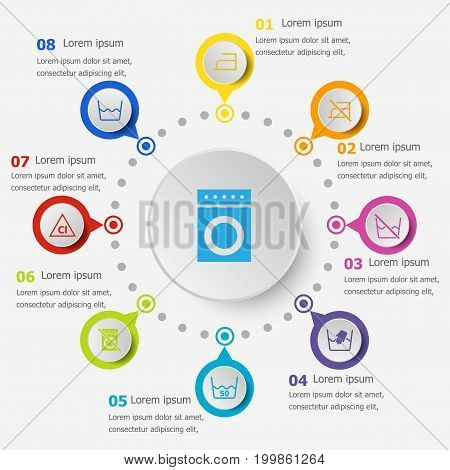 Infographic template with laundry icons, stock vector