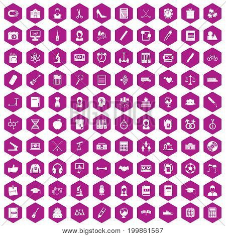 100 hi-school icons set in violet hexagon isolated vector illustration