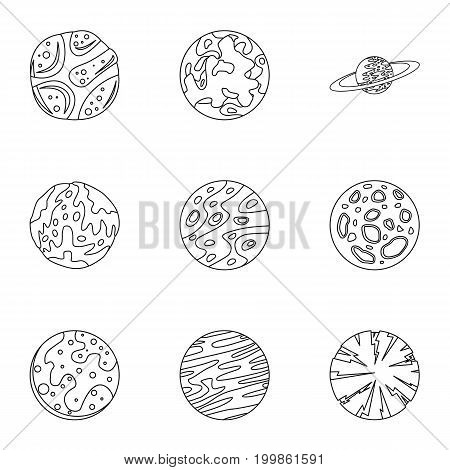 Alien planet icons set. Outline set of 9 alien planet vector icons for web isolated on white background