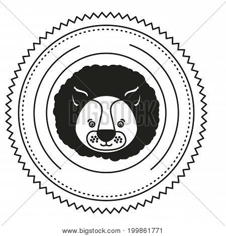 white background with monochrome silhouette frame decorative with face lion with black mane vector illustration