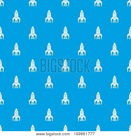 Space rocket pattern repeat seamless in blue color for any design. Vector geometric illustration