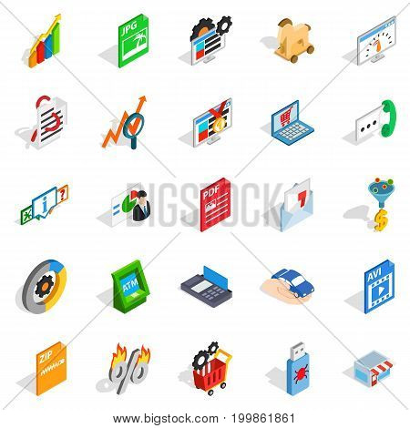 Discreditable practices icons set. Isometric set of 25 discreditable practices vector icons for web isolated on white background