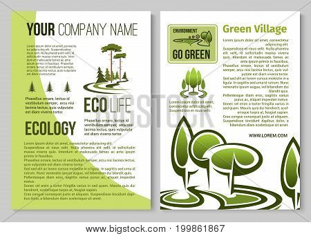 Ecology and environment protection information poster template. Green business and eco friendly lifestyle banner set with trees of city park and urban garden, text layout with pine tree icons