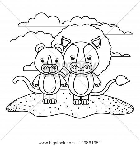 white background with silhouette scene couple cute lion and lioness animals in grass vector illustration