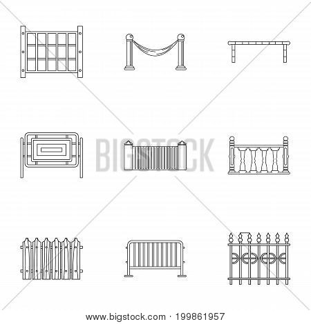 Different fence icons set. Outline set of 9 different fence vector icons for web isolated on white background