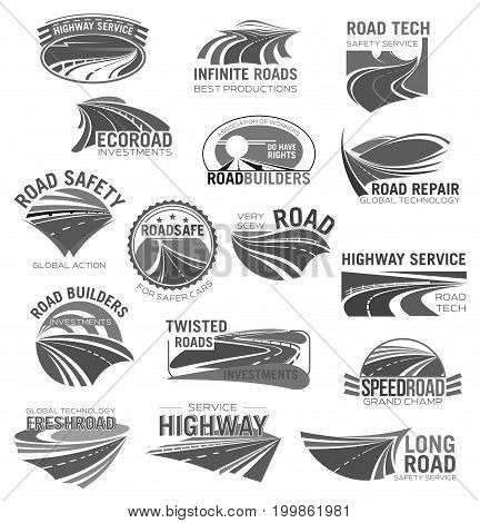 Road construction and highway service icon set. Asphalt road, highway and speed freeway symbol for building company and travel agency emblem, traffic safety and transportation themes design