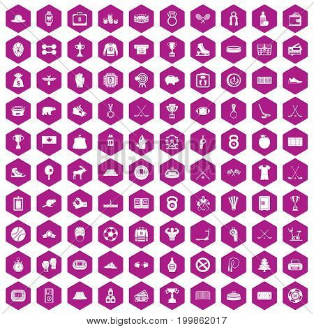 100 hockey icons set in violet hexagon isolated vector illustration