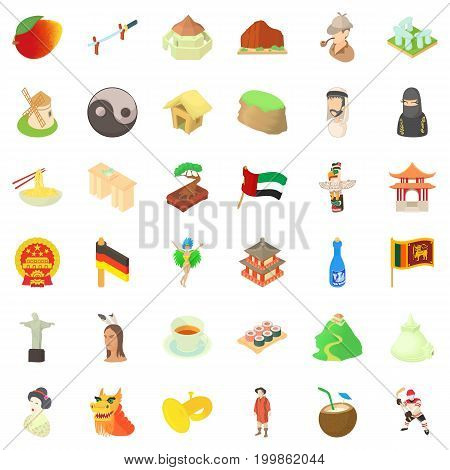 Culture icons set. Cartoon style of 36 culture vector icons for web isolated on white background