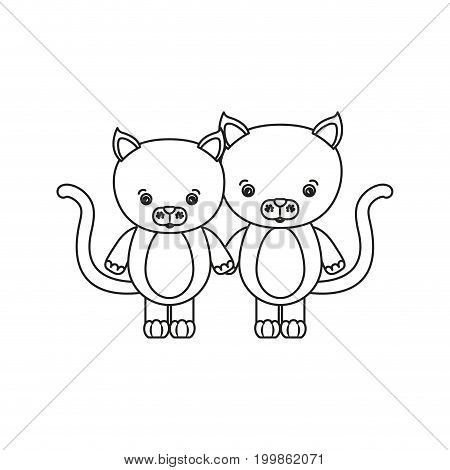 white background with silhouette caricature couple cute animal cats vector illustration