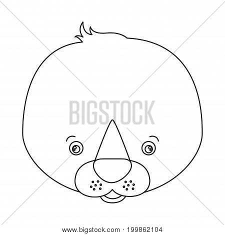 white background with silhouette caricature face seal cute animal vector illustration