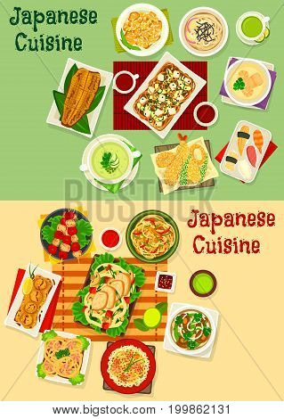 Japanese cuisine menu icon set with seafood rice salad, sushi with shrimp and tuna, grilled fish, meat, vegetable, mushroom soup, noodle with chicken, prawn, bean and tofu, fried liver, shrimp ball