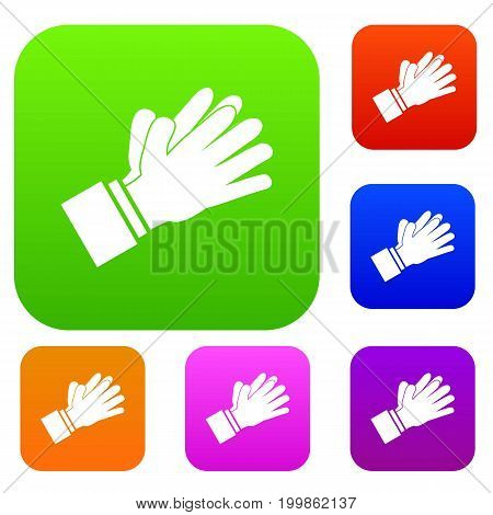 Clapping applauding hands set icon in different colors isolated vector illustration. Premium collection