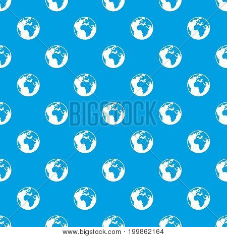 Earth globe pattern repeat seamless in blue color for any design. Vector geometric illustration