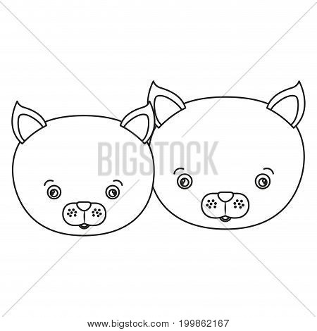 white background with silhouette caricature face couple cute animal cats vector illustration