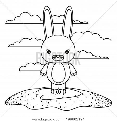 white background with silhouette scene cute rabbit animal in grass vector illustration