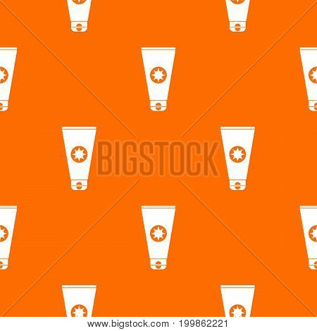 Tube with sunbathing cream pattern repeat seamless in orange color for any design. Vector geometric illustration