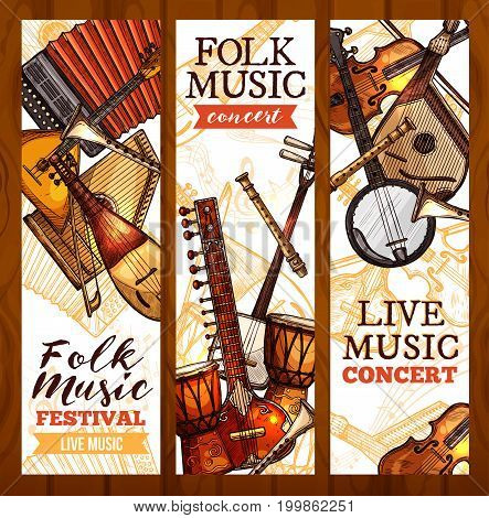 Folk music banner set with ethnic musical instrument sketches. Viola, drum, sitar, lute, banjo, tabla, flute, accordion and balalaika for live music concert poster or folk festival flyer design