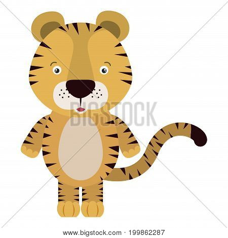 white background with colorful caricature cute tiger animal vector illustration