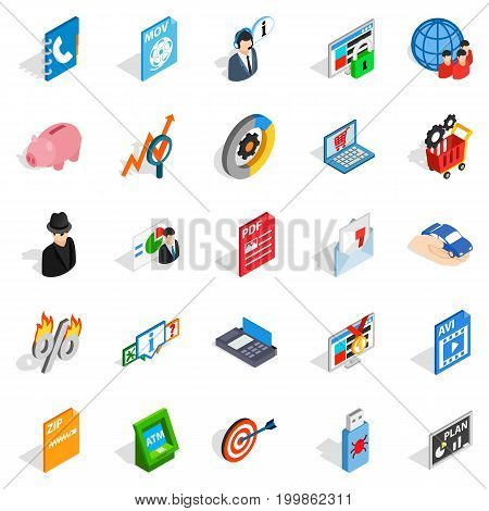 Industrial espionage icons set. Isometric set of 25 industrial espionage vector icons for web isolated on white background