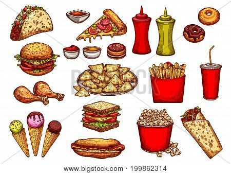 Fast food drink and dessert sketches set. Hamburger, french fries, soda and pizza, hot dog and donut, cheeseburger, chicken leg, ice cream cone, taco, nacho, burrito, sandwich, popcorn and sauce