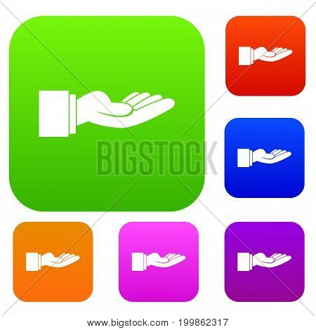 Outstretched hand gesture set icon in different colors isolated vector illustration. Premium collection