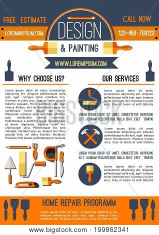 Home repair and painting, design studio poster template. Home renovation hand tool advertising banner with hammer, paint brush and roller, tape measure, trowel and spatula for house remodeling design
