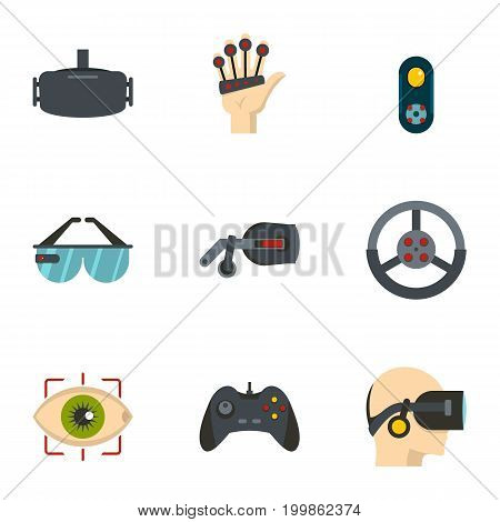 VR entertainment icons set. Flat set of 9 VR entertainment vector icons for web isolated on white background