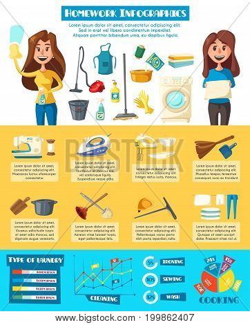 Housework infographic. Household chores graph and chart of home cleaning, laundry, ironing, sewing, washing and cooking info with hand drawn icons of housewife, household supplies and appliances
