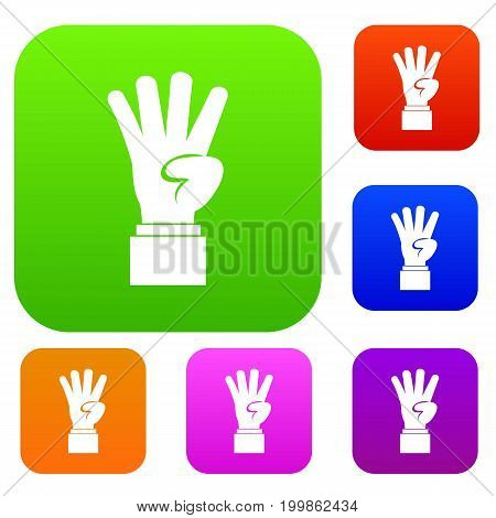 Hand showing number four set icon in different colors isolated vector illustration. Premium collection