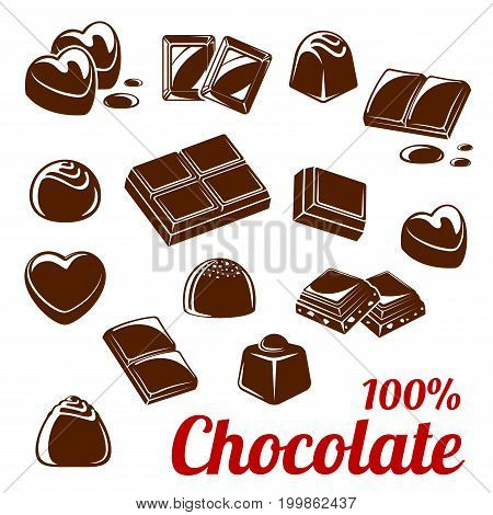 Chocolate bar and candy icon set. Chocolate and cacao sweets with nuts isolated symbol, dark brown chocolate pieces and drops for sweet food and dessert packaging, confectionery label design