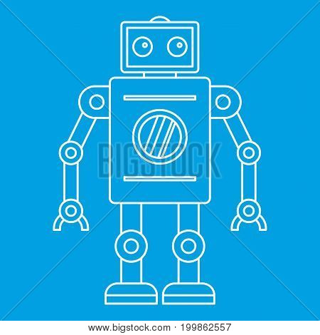 Abstract robot icon blue outline style isolated vector illustration. Thin line sign