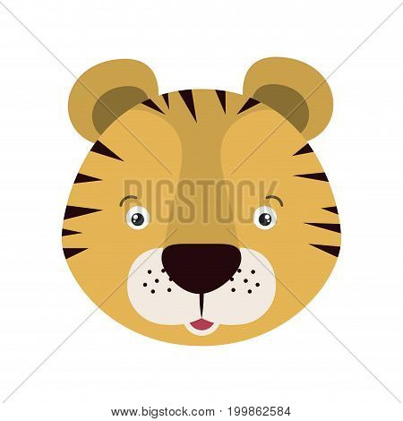 white background with colorful caricature face tiger cute animal vector illustration