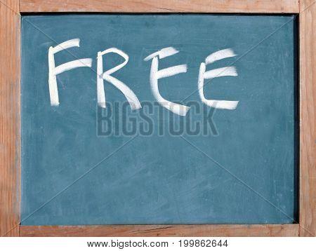 The Word Free Written On A Blackboard