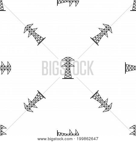 High voltage tower pattern repeat seamless in black color for any design. Vector geometric illustration