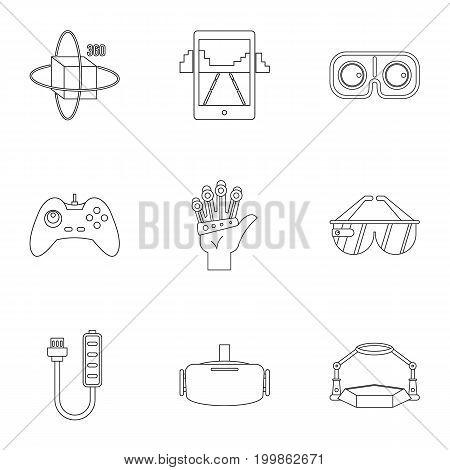 VR entertainment icons set. Outline set of 9 VR entertainment vector icons for web isolated on white background