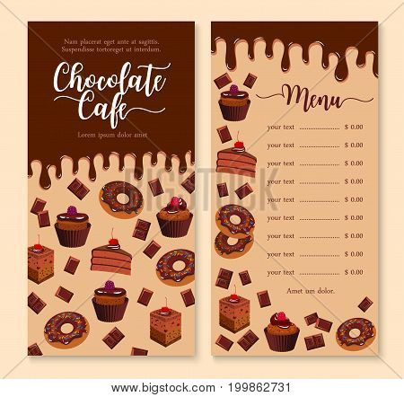 Cake and dessert menu template with dripping melted chocolate. Cake, cupcake, donut, muffin and brownie menu layout with prices, decorated by fruit, glaze, chocolate bar, candy, sweets and sprinkles