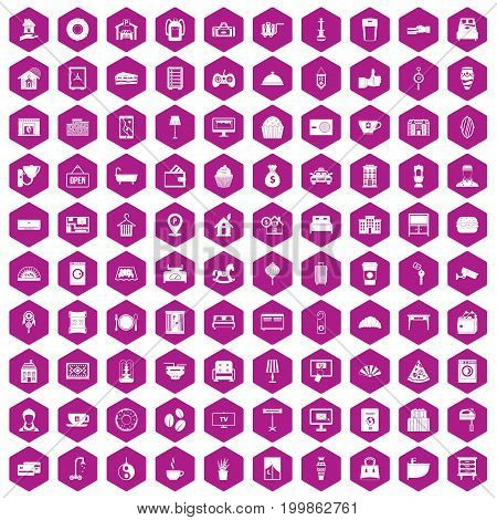 100 hotel icons set in violet hexagon isolated vector illustration