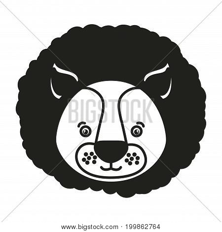 white background with monochrome silhouette caricature face lion vector illustration