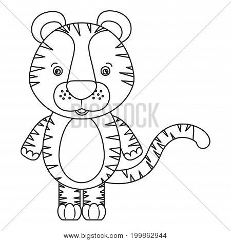 white background with silhouette caricature cute tiger animal vector illustration