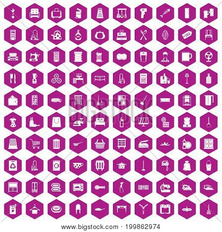 100 housework icons set in violet hexagon isolated vector illustration